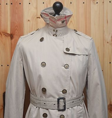 AUTHENTIC Burberry Brit Women's Beige Double Breasted Trench Coat Size UK16 US14