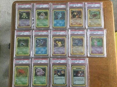 Pokemon Team Rocket 1st edition PSA 9 nr complete holo set x 16 dark charizard!