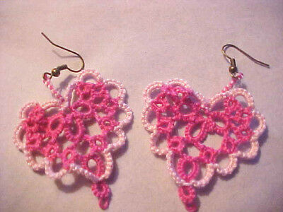 Tatted Heart Earrings Hot Pink & Pink Dove Country Tatting Victorian Lace