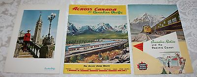 1950's Canadian National Railways Triangle Route Brochure & CP Dome Route w Menu