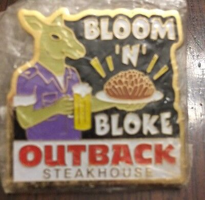 Outback Steakhouse Bloom N Bloke Pin Hat Lapel Kangaroo Holding Beer Onion New