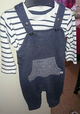 baby boys 3-6 months george dungarees tshirt bundle set outfit clothes clothing
