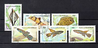 set of 6 used tropical fish themed stamps