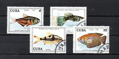 set of 4 used tropical fish themed stamps