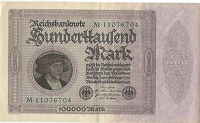 1923 100,000 MARK GERMANY CURRENCY REICHSBANKNOTE GERMAN BANKNOTE BILLS - Qty 4