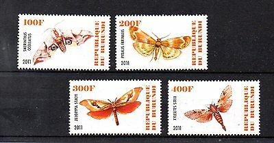 set of 4 mint butterfly and moth themed stamps