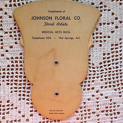Vintage Advertising Fan Johnson Floral Co Hot Springs Arkansas