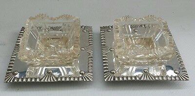 Vintage Deykin & Harrison Silver Plate Tray Cut Glass Open Salt Cellar Pots
