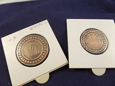 1908 Tunisia 5 Centimes and 10 Centimes coins