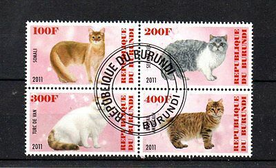 set of 4 used cat theamed stamps