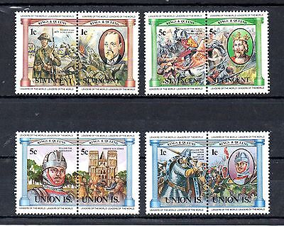 set of 4 british kings and queens stamps from st vincent