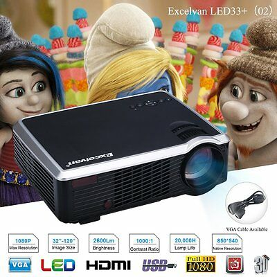 Excelvan 2600 Lumens Video Projector Portable Mini LED HD 1080P Multi-media LCD