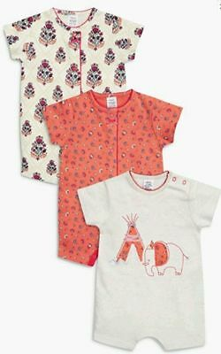 BNWT NEXT 3 Three Baby Girls Elephant Rompers Summer Sleepsuits Size to 3 months
