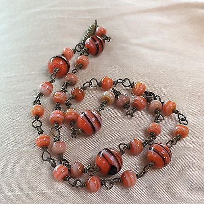 Vintage Retro Art Deco Black Red White Marbled Glass Wired Bead Necklace 18in