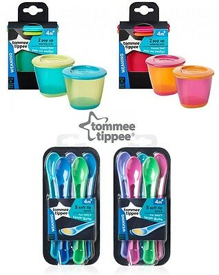 Tommee Tippee Soft Tip Weaning Spoons (5 Pack) & Pop Up Weaning Pots (2 Pack)