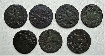 Lot of 7 Poland Lithuania Solidus 1665-1666 Copper Coin S5