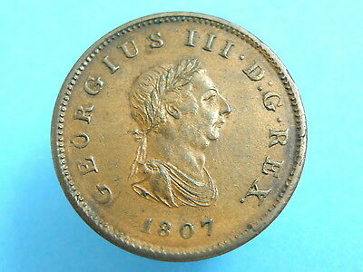 1807 King George III  - COPPER HALFPENNY COIN - Good Detail