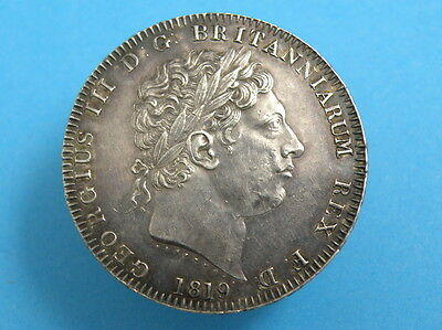 1819 King George III - SILVER CROWN COIN - LXI Edge Version - HIGHER GRADE
