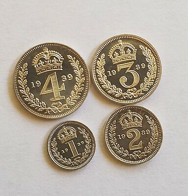 1939 Great Britain 4 Coin Maundy Set