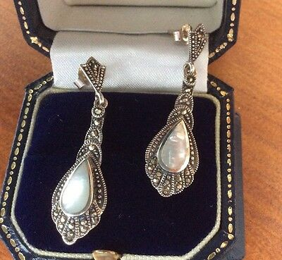 Stunning Art Deco Style Mother Pearl Marcasite Sterling Silver Drop Earrings 925