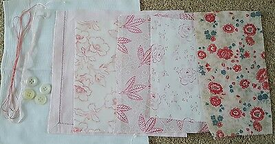 ~ Charming Vintage French Pink Floral Fabric Craft Pack ~