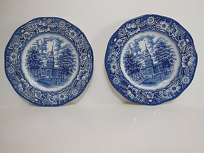 "2-Each Liberty Blue Dinner Plates 9-3/4"" Staffordshire Ironstone Made In England"