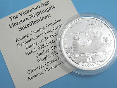 GIBRALTAR - 2001 SILVER PROOF CROWN COIN - FLORENCE NIGHTINGALE + Certificate