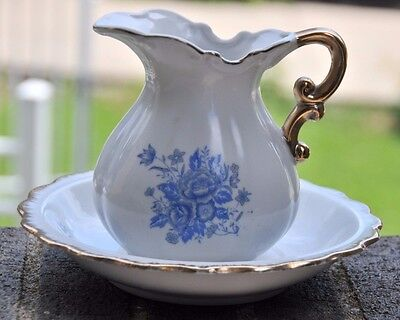Vintage Wash Basin Bowl & Water Pitcher White with Blue Flowers-Gold Gilt Trim