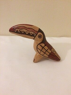Wood Carved Pelican Statue Hand Painted Musical Instrument Flute Handmade Brown