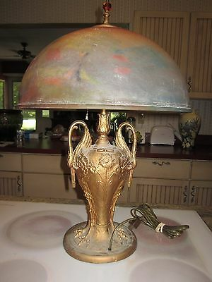 antique reverse painted chipped ice table lamp with swan crane figural deco base