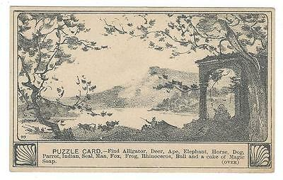 Burk's Magic Soap. Puzzle Card. Find the animals.