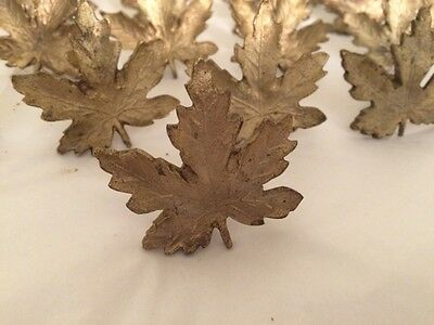 Used Vintage Cast Gold Brass Maple Leaf Cabinet Or Draw Pull [Set Of 35]