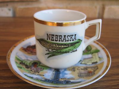 Vintage Souvenir Mini Cup & Saucer NEBRASKA Cornhusker State Attractions Thrifco