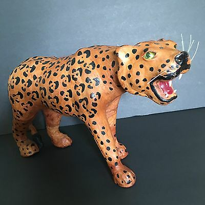 Vintage Handcrafted Leather Spotted Leopard Tiger Figure Toy India Zoo Animals