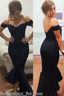 Navy Blue Off Shoulder Mermaid Long Evening Party Dress Size 8 10 New