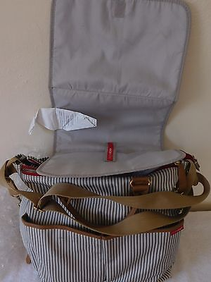 Skip*Hop Gray and White Striped LG. Diaper Bag, Changing Pad, Strap & Handles