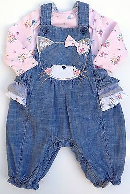 Next Baby Girls Blue Denim Kitty Frilly Dungarees & Bodysuit Outfit 0-3months