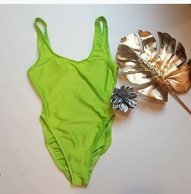 VTG 80's high waist Gilda Marx neon one piece swimsuit S/M Made in California