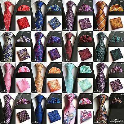 New Season Paisley Silk Floral Pocket Square Hanky Handkerchief And Tie Set 2 Uk