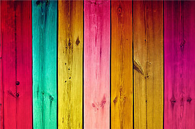 Wooden Colorful Photo Backdrops Studio Vinyl Photography Background 7X5FT Baby