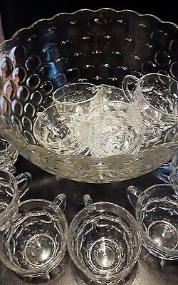 Vintage Federal Glass Punch Bowl set 26 piece with box Jubilee thumbprint
