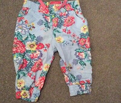 Baby Girls Joules Blue Floral Trousers Size 3-6 Months