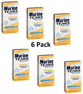 6 Murine Natural Tears Lubricant Dry Eye Drops Irritated Red Eyes Original .5oz
