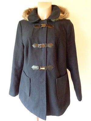 Red Herring Maternity Navy Hooded Faux Fur Trim Donkey Jacket Coat Size 14