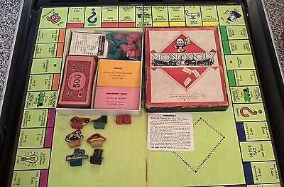 Vintage Monopoly Set 1930/1940 with Board & Wooden/Cardboard Pieces