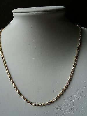 Qvc Usa Sterling Silver Rope Chain Necklace.  Bonded With 14Ct Gold Finish.
