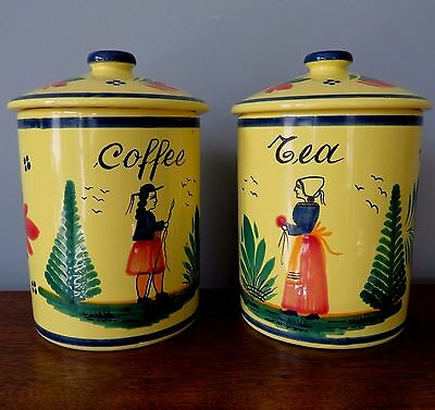 """2 Vtg QUIMPER COFFEE TEA Lidded 6"""" CANISTERS Storage JARS Yellow Soleil ExCond"""