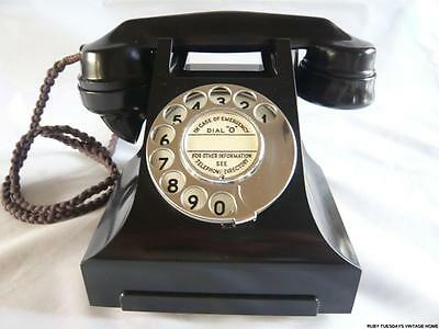 STUNNING VINTAGE GPO BLACK BAKELITE TELEPHONE dial phone retro ANTIQUE Art Deco
