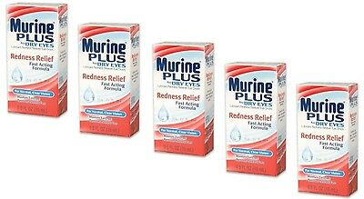 5 Murine Plus Redness Relief Lubricant Dry Eye Drops Irritated Red Eyes .5oz
