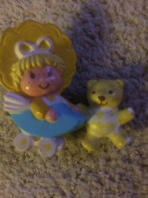 Vintage Strawberry Shortcake doll Lemon baby In Pram & Teddy miniature figure 82